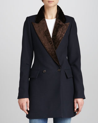 Smythe Faux-Fur-Collar Felt Coat