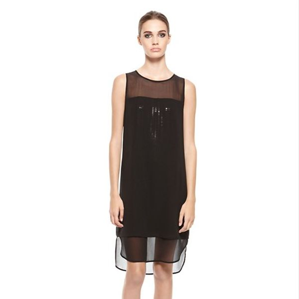 DKNY  Double Layer Dress with Sequined Underlay
