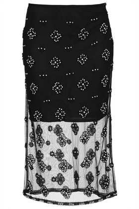 Topshop  Crystal Embellished Pencil Skirt