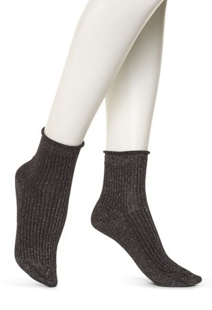 HUE Mini Rib Shortie Roll Top Socks