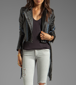 BCBGMAXAZRIA Grant Fringe Leather Jacket