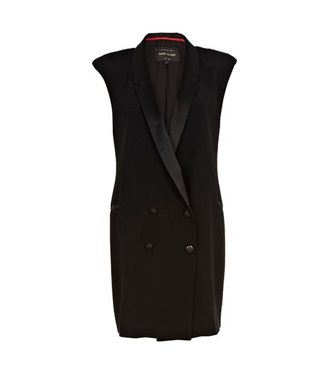 River Island  River Island Black Sleeveless Tuxedo Dress
