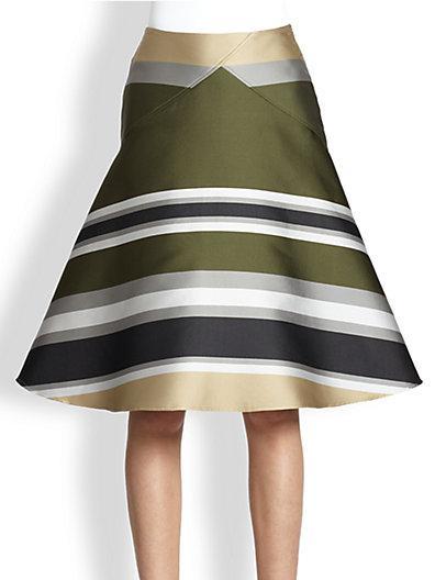 Ostwald Helgason  Striped Shantung A-Line Skirt