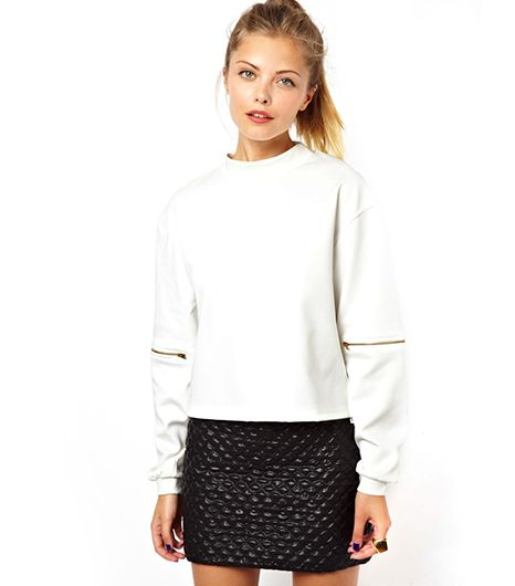ASOS Sweatshirt in Clean Neoprene with Zip Elbow
