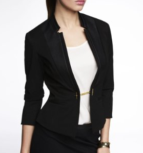 Express Studio Stretch Notch Lapel Peplum Jacket