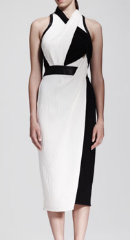 Helmut Lang  Two-Tone Twist-Neck Drape Dress