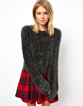 ASOS Fluffy Cropped Sweater With Wide Sleeves