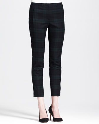 Theory Fial Linear Cropped Plaid Pants