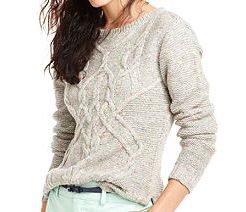 Maison Jules  Long-Sleeve Crew-Neck Cable-Knit Sweater