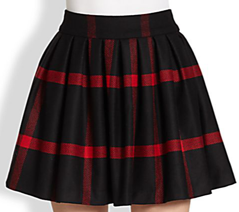 Alice + Olivia Box-Pleated Wool Skirt