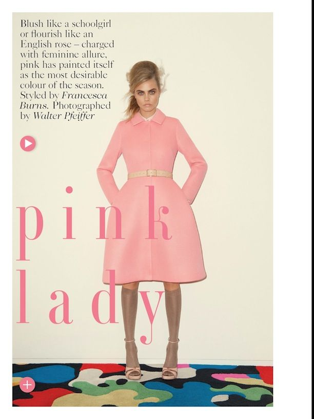 Pink Lady: Cara Delevingne In This Season's Hottest Color For Vogue UK