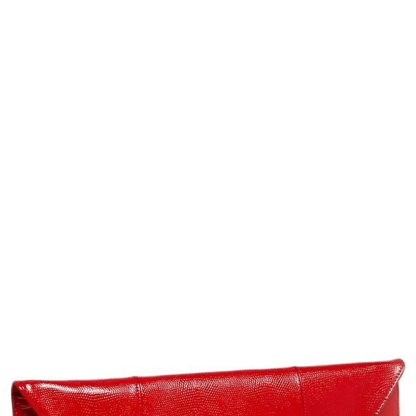 Halogen Lizard Embossed Patent Leather Flap Clutch