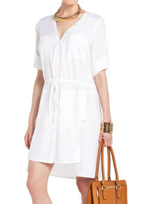 BCBGMAXAZRIA Daya Rolled-Sleeve Shirtdress