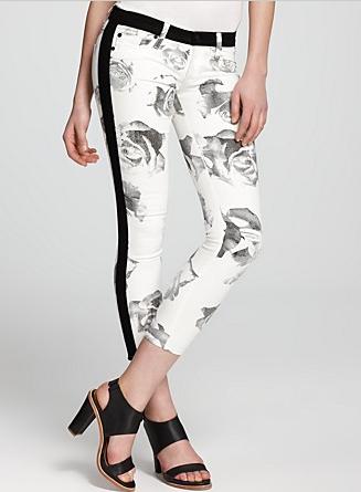 Hudson Jeans Leeloo Super Skinny Tuxedo Crop In Floral