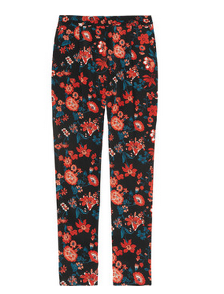 DKNY Printed Stretch-Silk Pants