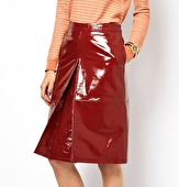 ASOS A-Line Midi Skirt In Patent Leather