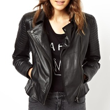 ASOS Leather Biker Jacket With Quilt Detail
