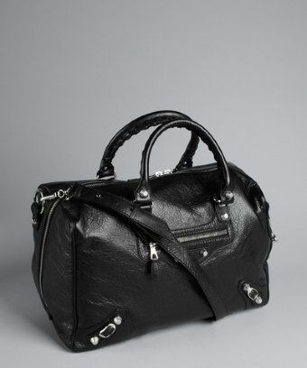 Balenciaga  Black Textured Lambskin Zip Around Convertible Satchel