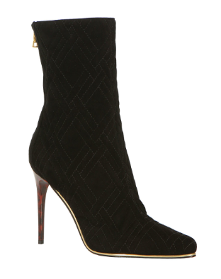 Balmain  Black Quilted Suede Booties