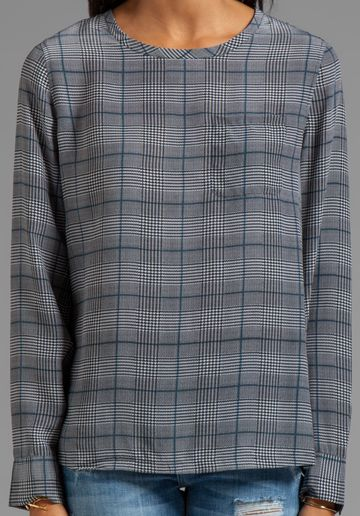 Equipment Roland Glen Plaid Printed Liam Pocket Tee