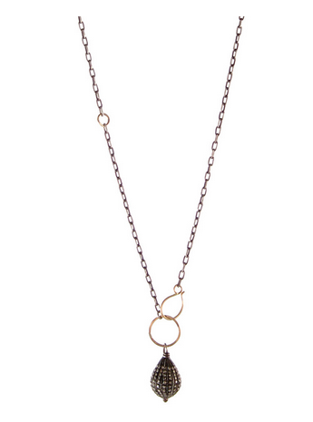 Zoe Chicco Mixed Pave Diamond Teardrop Necklace