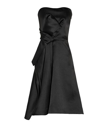 Halston Heritage Halston Heritage Pleated Satin Dress