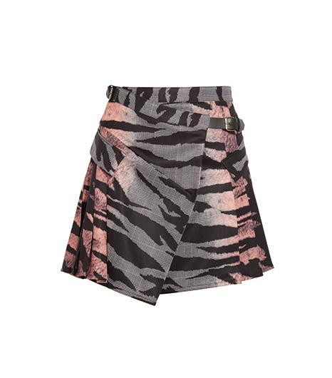 McQ Alexander McQueen  McQ Alexander McQueen Printed Twill Wrap Skirt