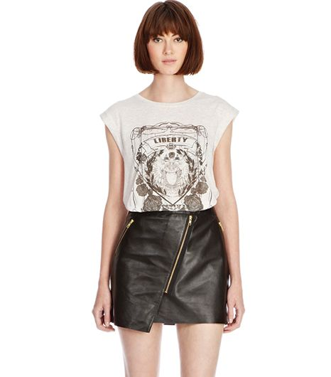 Warehouse  Warehouse Leather Zip Biker Skirt