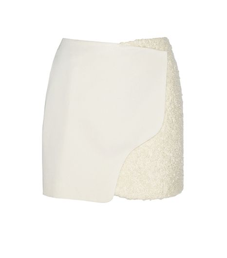 Maiyet  Maiyet Wool and Shearling-Effect Wrap Skirt