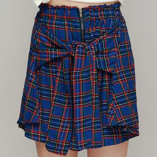 Storets  Tie Front British Check Skirt