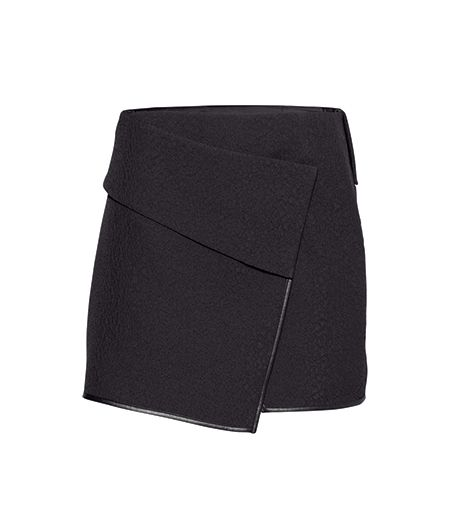 H&M  H&M Wrap-front Skirt ($35) in Black