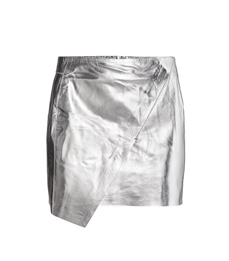 H&M  H&M Leather Skirt ($129) in Silver