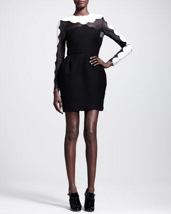 Valentino  Scalloped Wool-Blend Crepe and Silk Organza Dress