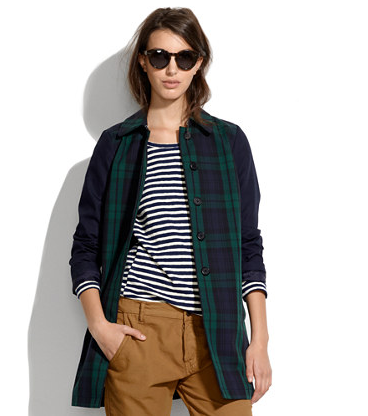Madewell All-Weather Plaid Coat