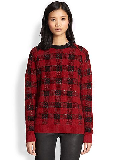 3.1 Phillip Lim  Leather-Trim Wool & Cashmere Combo Top