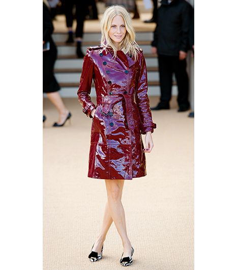 Poppy Delevingne   Think a tan hue is your only choice? Think again. Delevingne stepped out of the beige box with a claret red patent Burberry Prorsum Laminated Leather Trench Coat ($3595) at...