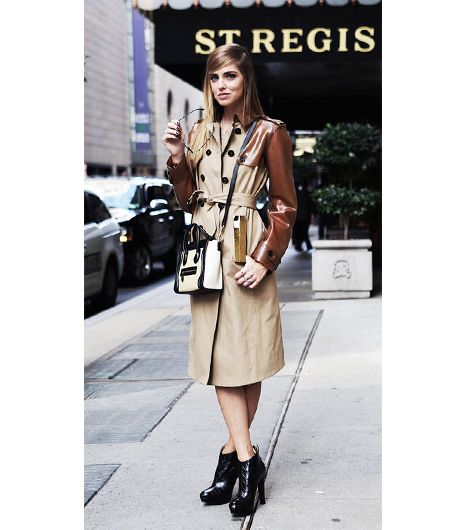 Chiara Ferragni of The Blonde Salad  The beauty of a standout trench like Ferragni's contrast-sleeve Burberry Prorsum VinylAnd Gabardine Trench Coat ($2795)? It makes your entire...