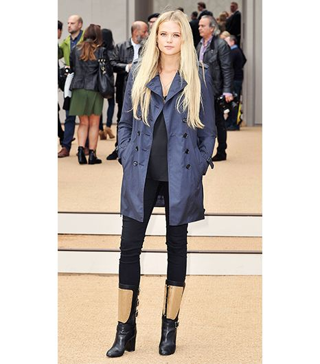 Gabriella Wilde  Wilde's slightly cropped Burberry Prorsum Short Cotton Sateen Trench Coat ($1995) trench she wore to the brand's S/S 14 show creates an ideal proportion for petite...