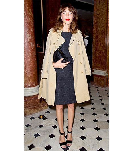 """Alexa Chung  Trench coats don't have to skew casual. At a cocktail party in London, the Brit """"It"""" girl wore her trusty Burberry Prorsum trench (similar style here) over a..."""