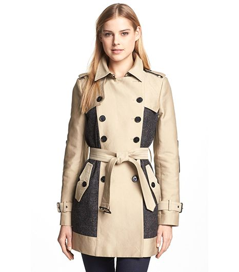 Sam Edelman Double Breasted Wool Inset Trench Coat