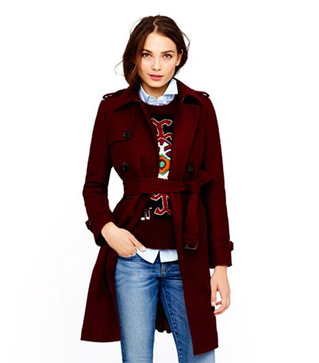 J.Crew Icon Trench In Wool-Cashmere ($350) in Cabernet