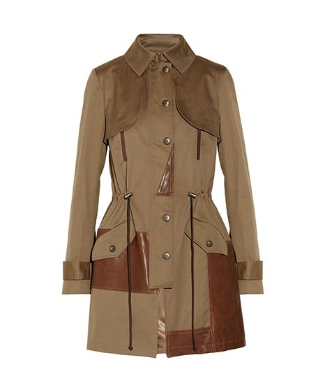 Thakoon Addition Leather-Trimmed Cotton-Blend Canvas Trench Coat ($790)