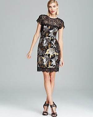 Nicole Miller Metallic Floral Sequin Dress