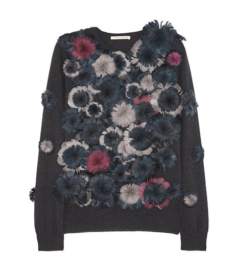 Christopher Kane Christopher Kane Floral Feather-Appliqué Cashmere Sweater