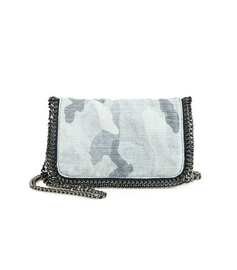 Faded denim camo gets polished with a hefty metal chain. 