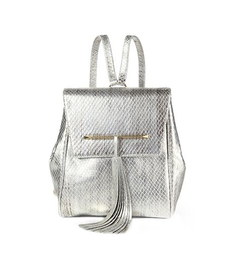 B Brian Atwood  Juliette Metallic Snake-Embossed Leather Small Backpack