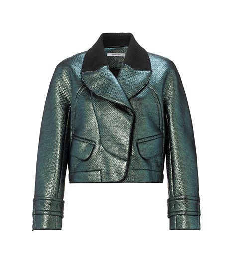 Carven  Metallic Green Wool Bomber Jacket