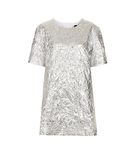 Topshop Metallic Foil T-Shirt Dress