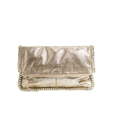 Mango  Chain Metallic Folded Clutch