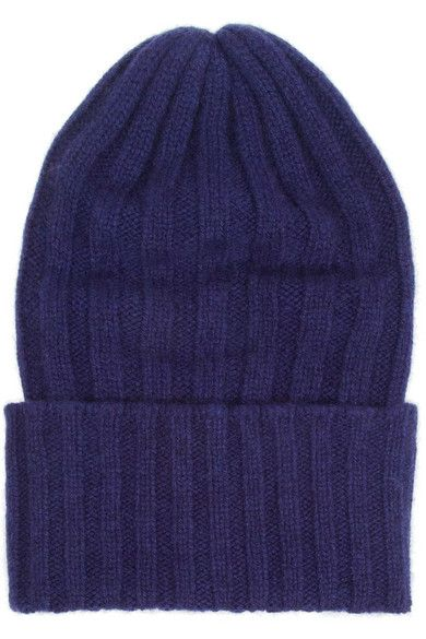 The Elder Statesman  Echo Bunny Ribbed-Knit Cashmere Beanie